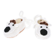 100% Cotton Handmade Animal Imitate China Wholesale White Baby Crochet Shoes