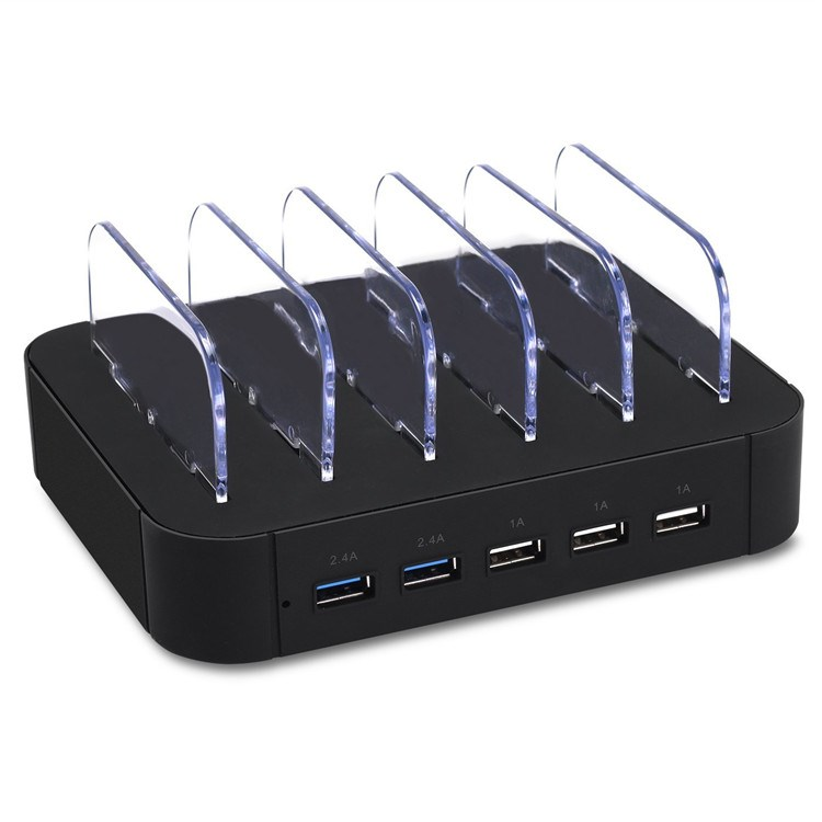 power adapter with cable black 5 port USB charging station - retail packaging for iPhone 6s/6 plus