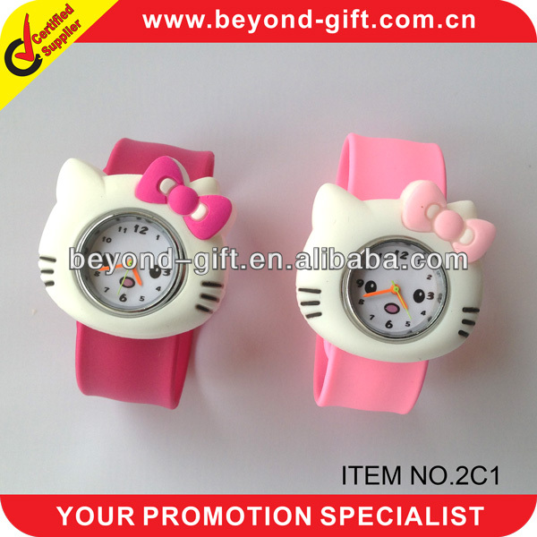 Hot selling Kids Hello kitty silicone slap watch