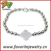 silver bead with flat flower charm metal bead bracelets with charms