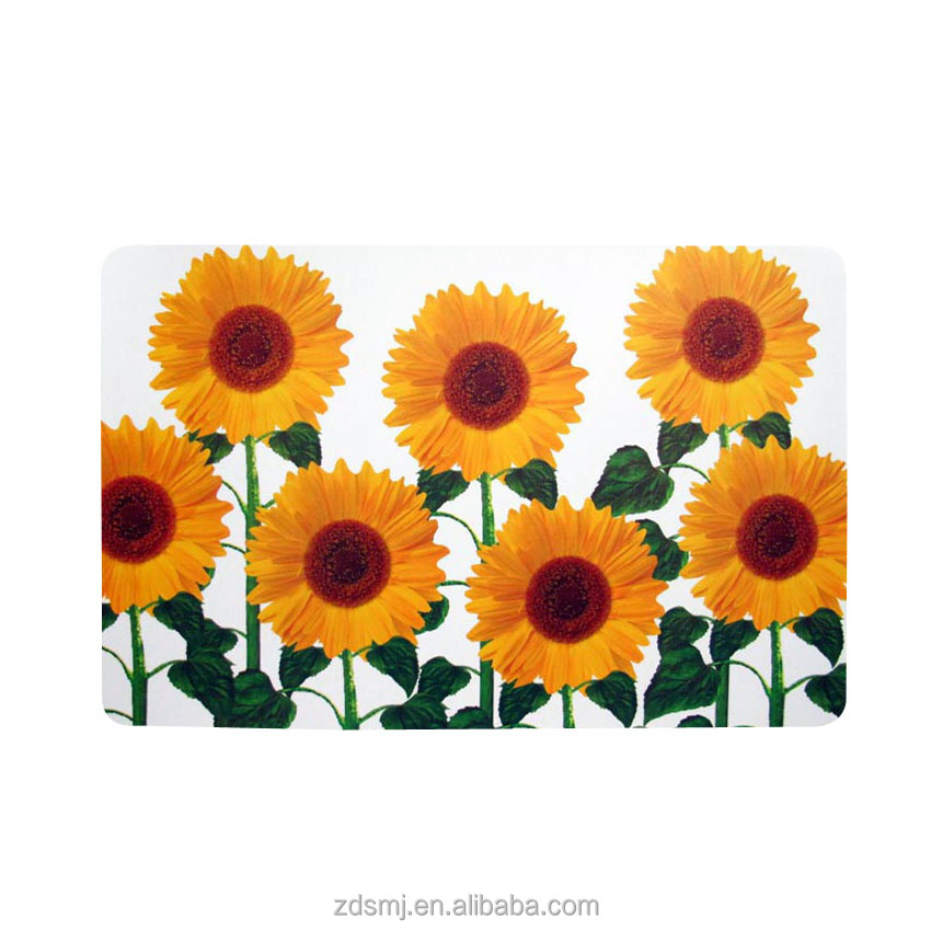 LFGB standard printed sunflowers pp/pvc plastic placemat + coaster