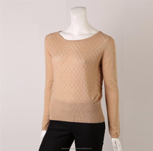 fashion ladies 55% acrylic 45% cotton knitted pullover sweater women