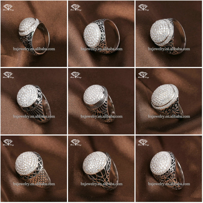 New products 2017 925 siver fine stone ring designs for men