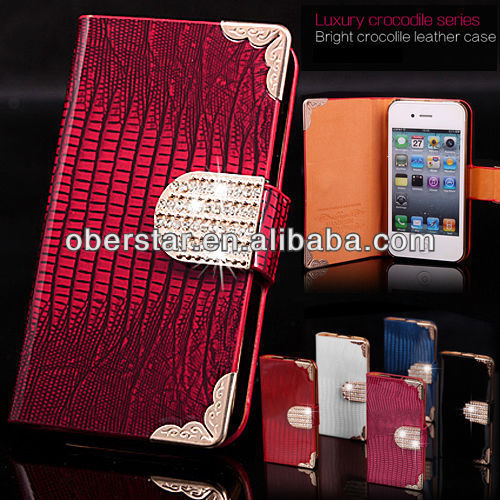 FOR IPHONE 4G 4S CRYSTAL DIAMOND MAGNETIC BLING LEATHER WALLET FLIP CASE