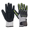 SRSAFETY new style industrila working used anti impact men safety gloves,black TPR hand protection work glove