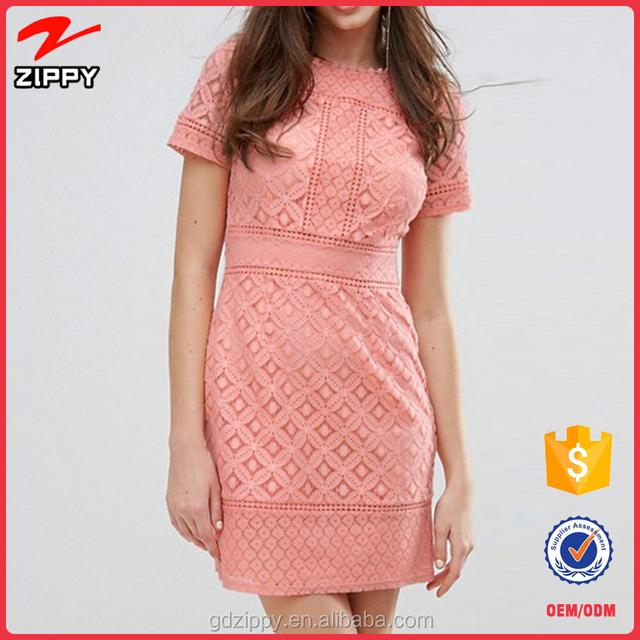 2017 fancy crochet summer short sleeve normal linen pink lace dress for women