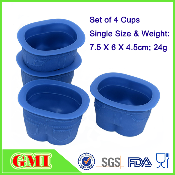 Jeans shape cup cake baking accessories with food grade silicone