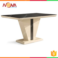 Home furniture luxury simple modern design dining room used high end wooden MDF W/ high gloss black/white dininer table for sale