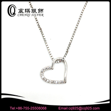 heart shaped 925 sterling silver jewellery necklace with multi zircon CZ stone AAA
