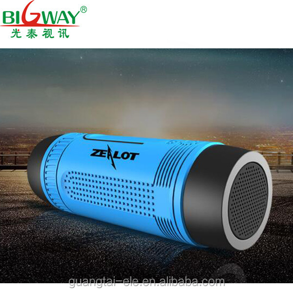 Multifunctiona wireless speaker for Zealot S1 Portable Outdoor Speakers LED Flashlight and charger Support FM Radio TF Card