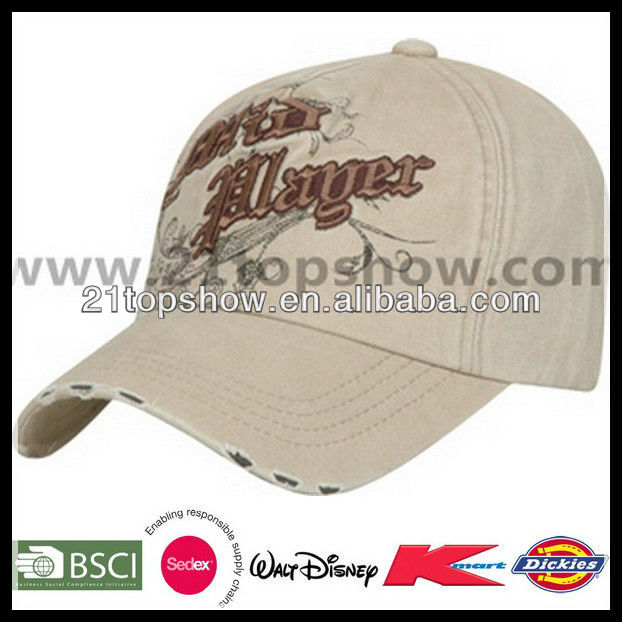 the peak with hole cap 3D embroidery cap basic 6p baseball cap