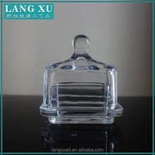 LX-T017 transparent christmas square small mini glass butter dish with knob