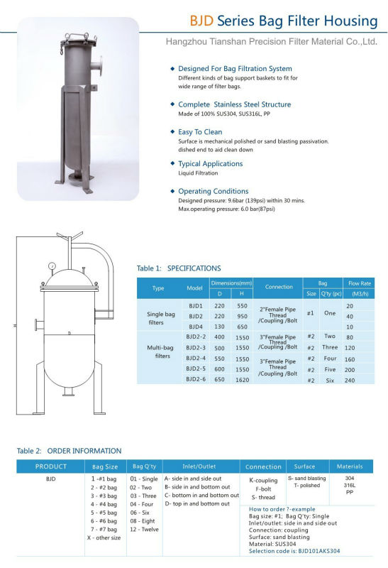 Mutiple bag filter housing sus304 / sus316L Stainless steel bag filter housing vessel for liquid filtration