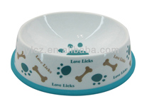 Porcelian type wholesale dog footprint design pet ceramic bowl