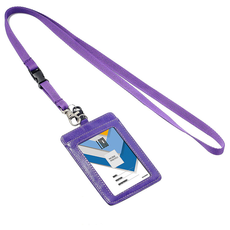 school office supplies badge pu leather id card holder with string