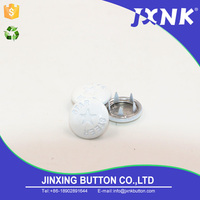 JXNK factory supply white metal fabric covered custom made sewing ring prong snap button