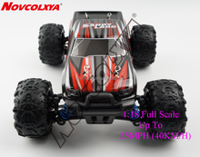 1:18 Full Scale 2.4G High Speed RTR Racing 4WD Electric Power With Remote Control 4x4 Fast Buggy Flexible RC Pickup Truck , Red