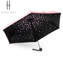 19'' Anti-UV 5 fold mini ultralight capsule umbrella uv sun umbrella with <strong>sakura</strong> pattern