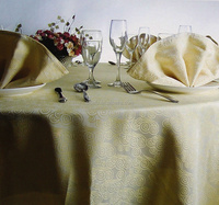 Wholesale Table Linens Polyester Jacquard round TableCloths Damask Table Covers