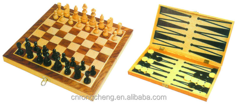 antique wood chinese chess set
