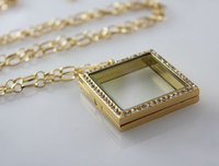 30X30MM Square Glass Locket Necklace(2 colors available),Floating Charm Lockets,Nature jewelry,Wish lockets