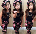 2016 new girl summer boutique outfits baby girls vest + Floral trousers + headband 3 pieces set