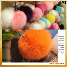 Factory outlet Various Color Ball Shape Fuzzy Fox Fur Keychain for Lady Bag Hanging Ornament BA 005-9