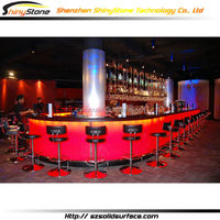 Brilliant curved modern lighting bar design artificial marble/stone solid surface circular bar design