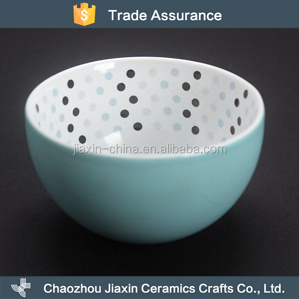 Unique design light blue ceramic porcelain rice bowl with white dots
