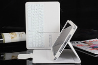 New fashion portable folding stand bluetooth keyboard PU leather White case for Ipad Air