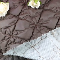 Polyester wadding embroidery diamond quilted fabric wholesale quilted fabric