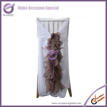2014 hot sale elegant china wholesale chiffon ruffled wedding chair covers and sashes china manufacture