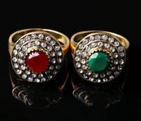 Bohemia Style National Ancient Jade Green Cut Diamond Alloy Plating Ring