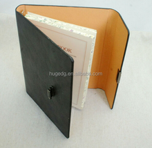 custom personalized PU Leather 3 Fold lock diary with metal button