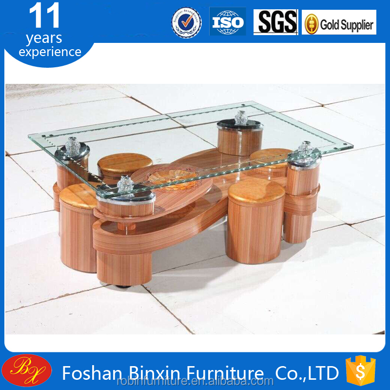 "Living room furniture RB-861 modern ""S"" Shape transparent glass&pu coffee table rectangular glass tea table with small pu stool"