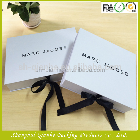 Luxury paper box for dress shirt packaging with ribbon for closure