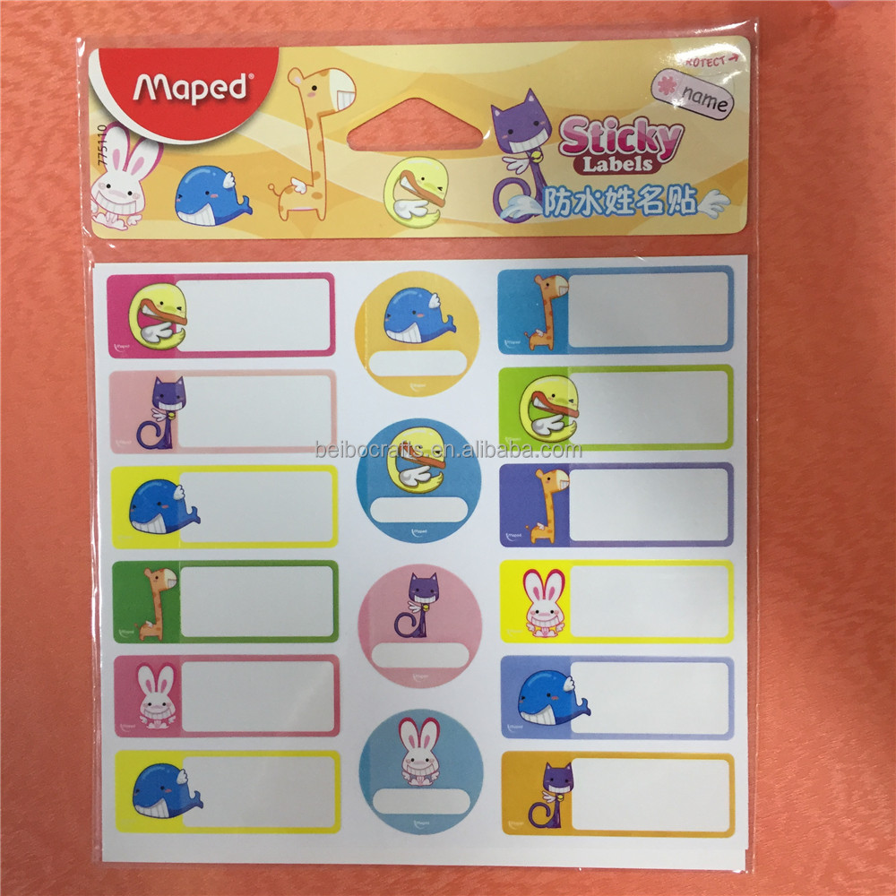 adhesive stickers waterproof cartoon name stickers for children