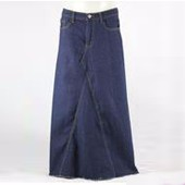 Women long length straight jeans front pocket simple design casual skirt