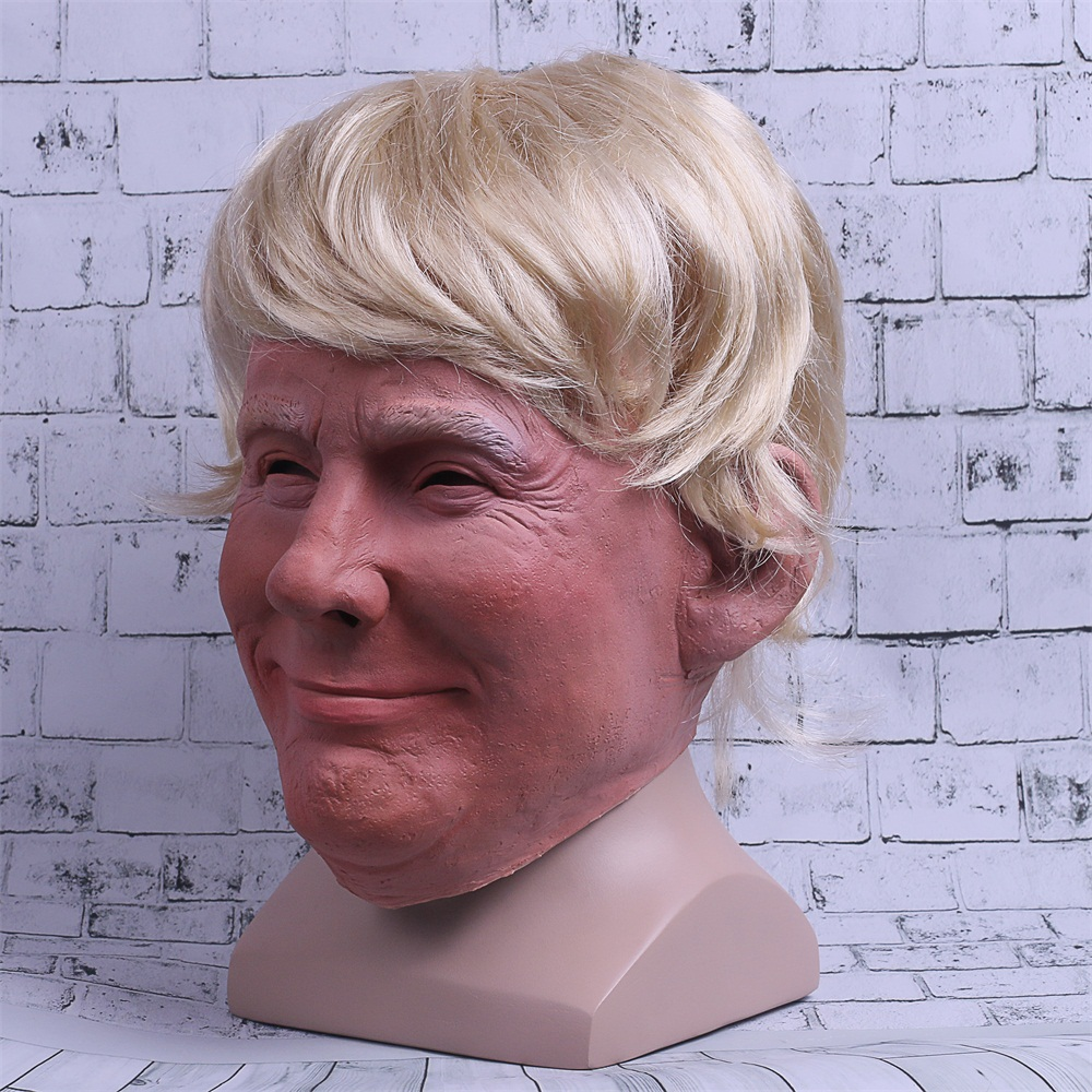 Realistic Trump Mask Putin Mask Presidential Costume Adults Halloween Deluxe Latex Full Head Donald Trump Mask with Hair (4)