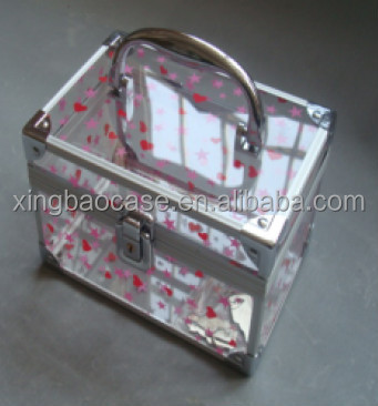Cosmetic travel cases,Acrylic cosmetic box,make up case with mirror lighted makeup case