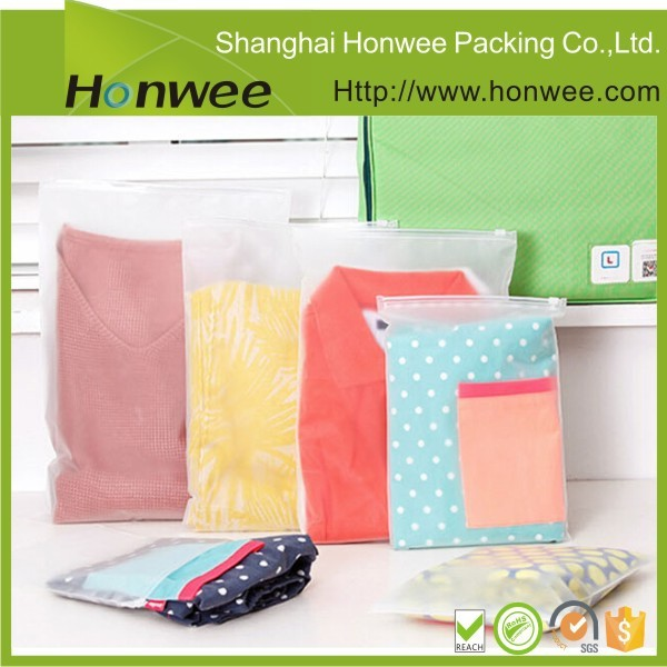 punch hole slide zip lock plastic bag to pack clothes