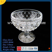LXHY-G010-2 Hand pressed crystal footed glass dessert bowls transparent bowl