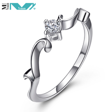 Womens 925 Sterling Silver Wave Band CZ Solitaire Ring