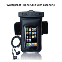 Black Waterproof Phone Case Dry Arm Case Bag with Earphone for Smart phone MP4 for Samsung for Iphone