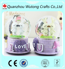 cartoon rabbit wedding souvenir gift snow globe