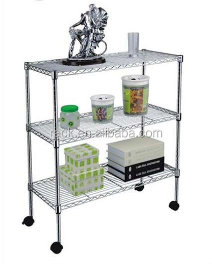 1602L-3 Tiers Wire Adjustable Chrome Shelf with Wheels for Home Using