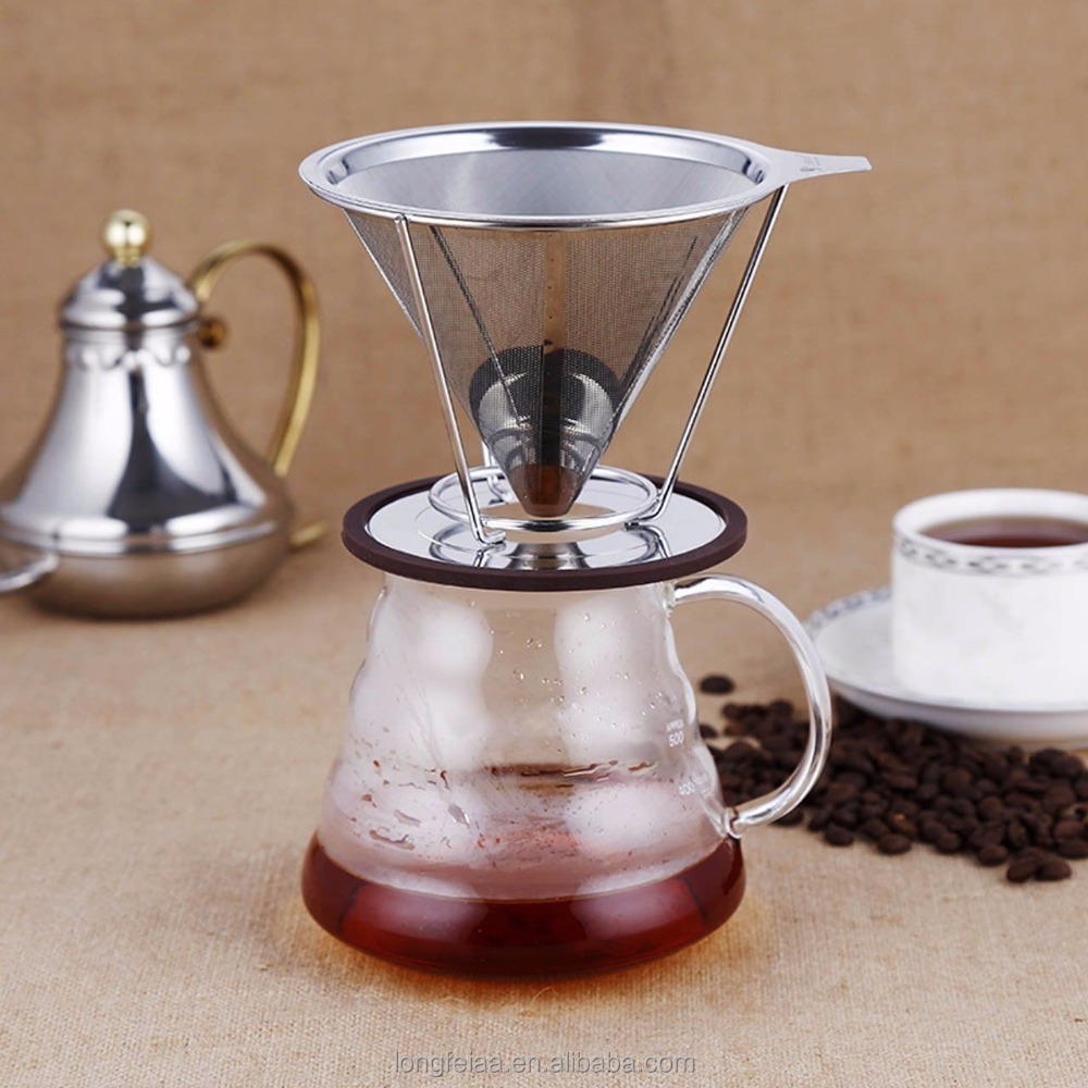 Food safe stainless steel pour over dripper coffee filter