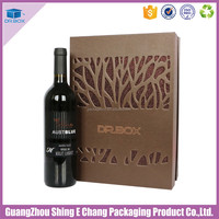 new design rigid wine box with custom logo/Leather Wine Carrier /wine carton box with window grill design