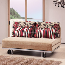 Cheap foldable functional chromed base fabric sofa bed for sales Philippines E869#