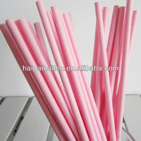Pastel Pink Pastel Solid paper drinking straws for baby showers